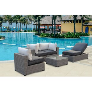 Bear Patio Wicker 5 Piece Rattan Conversation Set