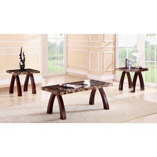Red Barrel Studio Woodsen Faux Marble Wooden 3 Piece Coffee Table Set