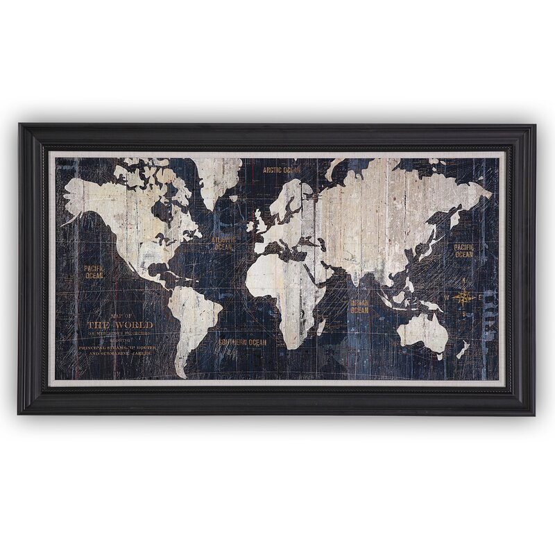 Old world map blue framed graphic art on wrapped canvas reviews old world map blue framed graphic art on wrapped canvas gumiabroncs Image collections