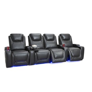Leather Home Theater Row Seating (Row Of 4 With Middle Loveseat) By Latitude Run