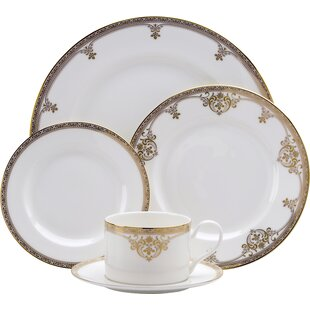 Reduced Price! Cream and Gold Yellow Mixed and Matched Fine China 4 Piece Place Setting