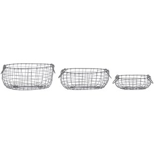Wire 3 Piece Basket Set (Set Of 3) By Borough Wharf