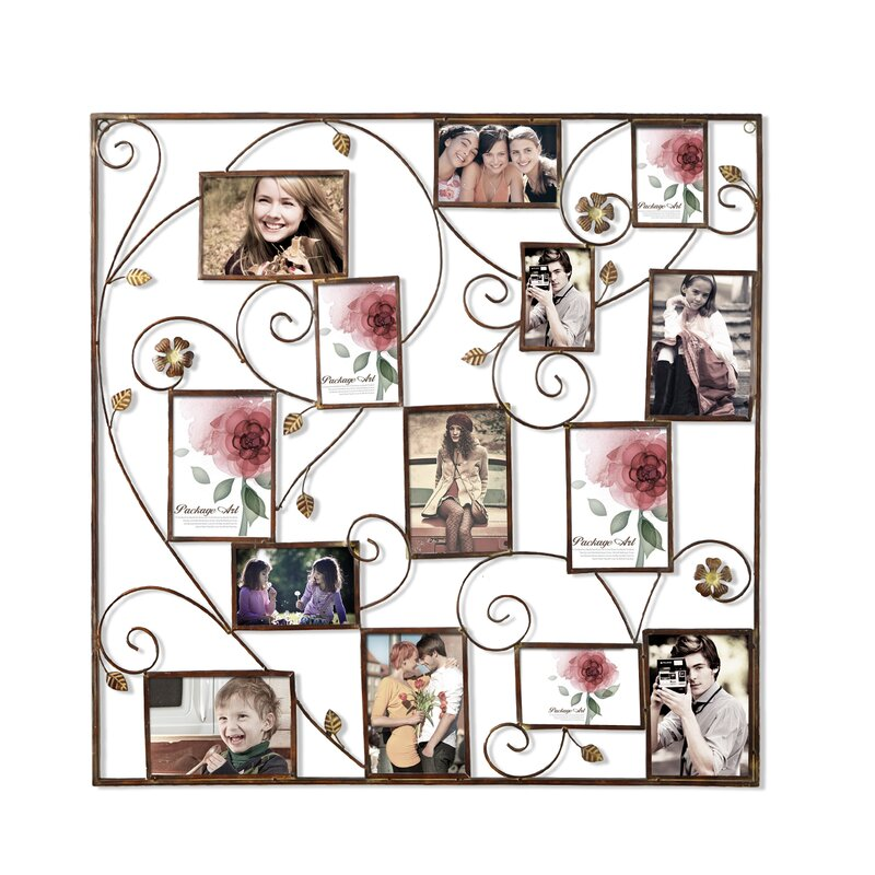 Kirsty 14 Opening Decorative Bronze Color Iron Photo Collage Wall Hanging Picture Frame