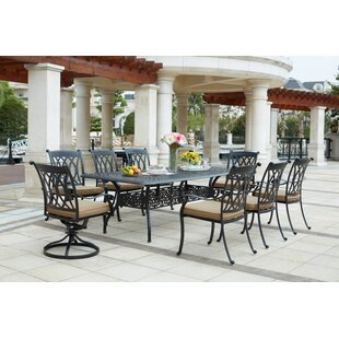 Astoria Grand Melchior 9 Piece Rectangular Dining Set with Cushions