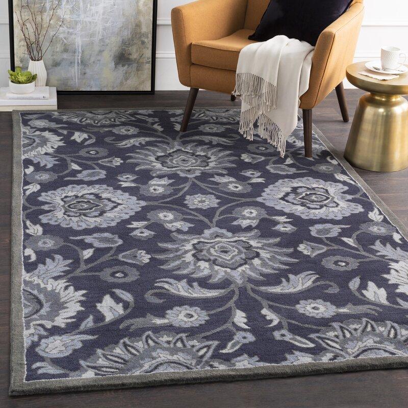 Charlton Home Keefer Oriental Handmade Tufted Wool Navy Charcoal Area Rug Reviews Wayfair