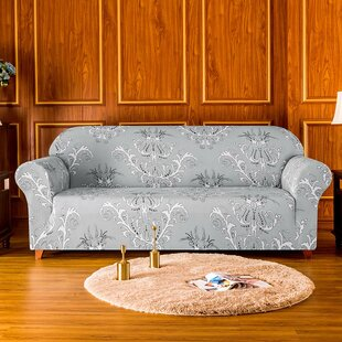 Stretch Flower Printed Loveseat Slipcover By Rosalind Wheeler