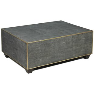 Tressie Leather Shagreen Coffee Table by Everly Quinn