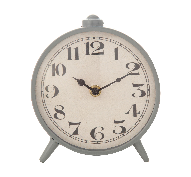 Gracie Oaks Round Metal Table Clock Reviews Wayfair