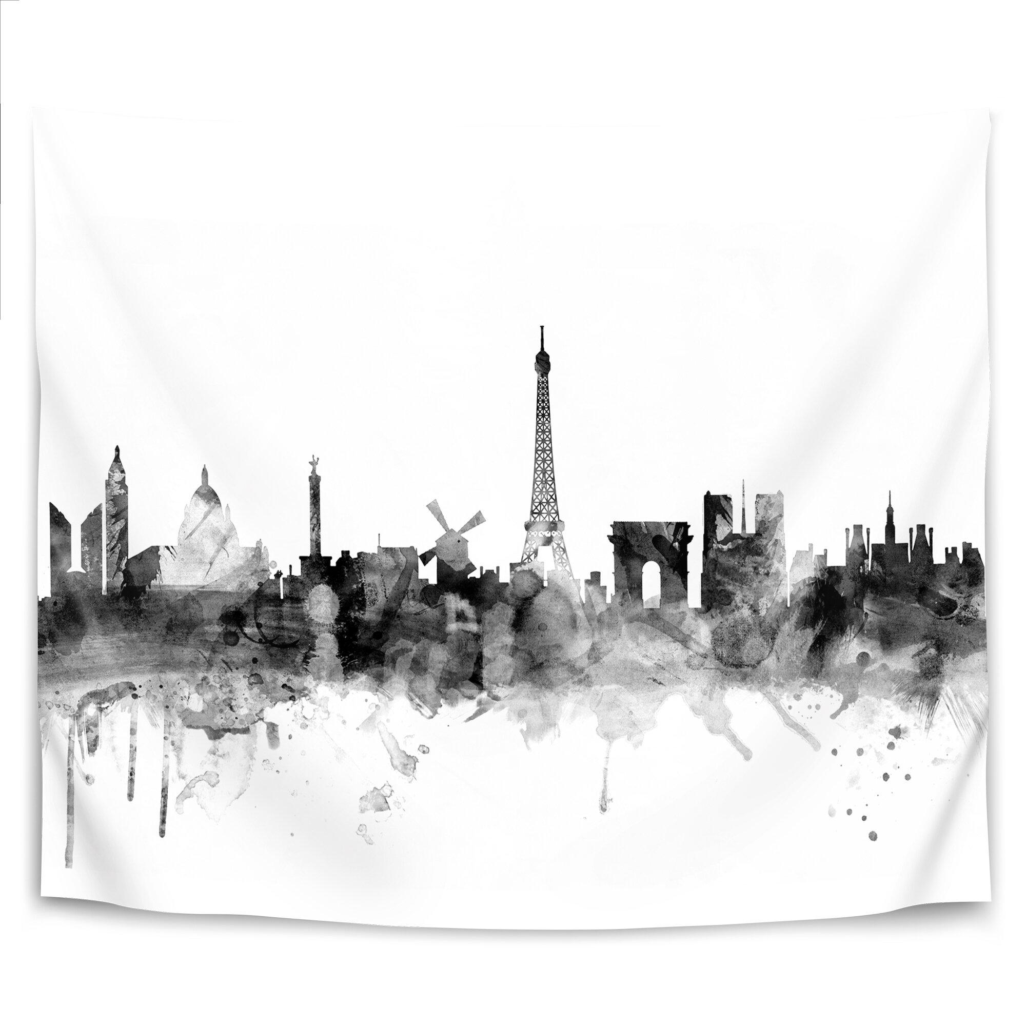 East Urban Home Michael Tompsett Art Pause Paris France Skyline New 1 Tapestry Wayfair Ca