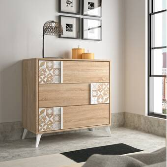 Canora Grey Turco Burnt Wood Floral Pattern Design 3 Drawer Chest Wayfair