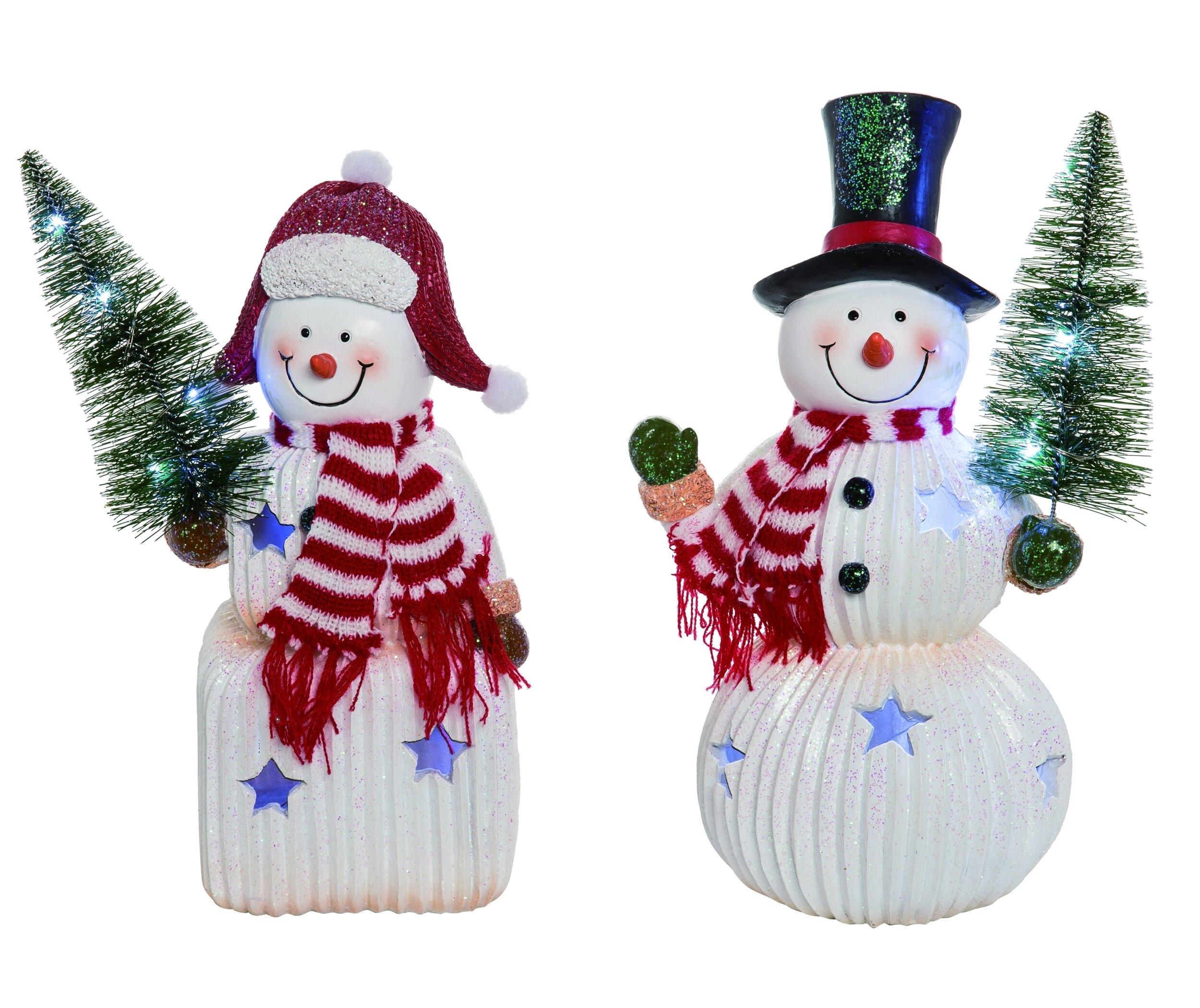 The Holiday Aisle 2 Piece Resin Christmas Light Up Cheerful Snowman Set Wayfair