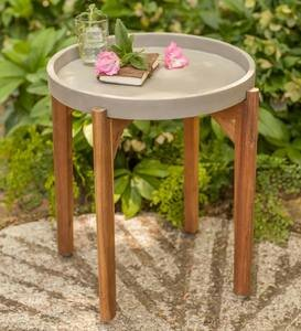 Cement and Wood End Table