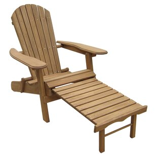 Atlantic Outdoor Foldable Wood Adirondack Chair with Ottoman