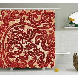 Bouziane Antique Thai Culture Vector Abstract Background Flower Pattern Wallpaper Design Print Single Shower Curtain