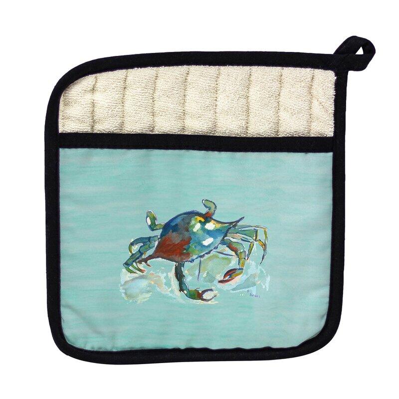 Betsy Drake Interiors Betsy S Crab On Aqua Potholder Wayfair
