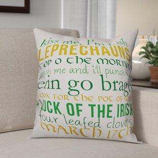 Benites Leprechaun Lingo Throw Pillow