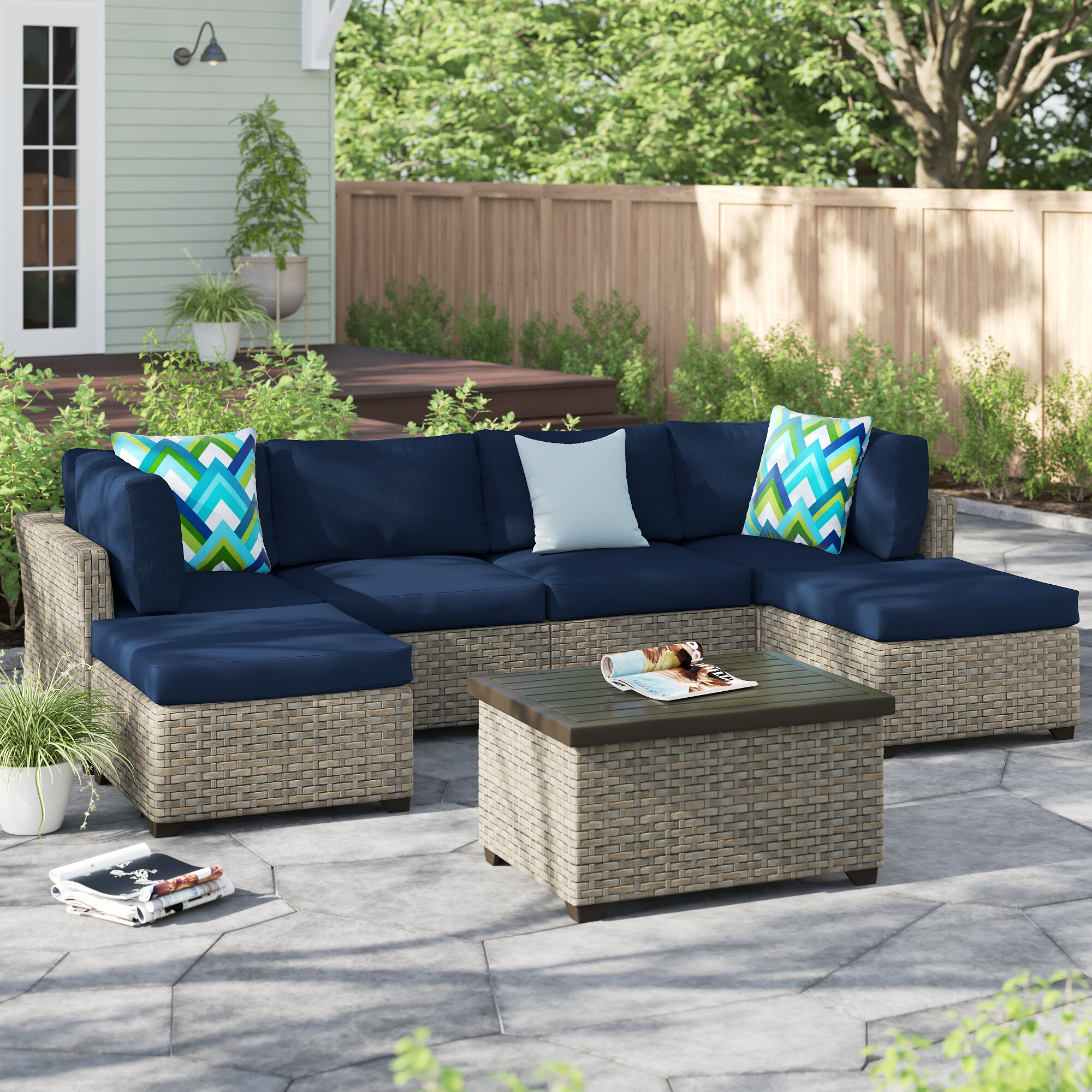 Sol 72 Outdoor Rochford 7 Piece Rattan Sectional Seating Group With Cushions Reviews Wayfair