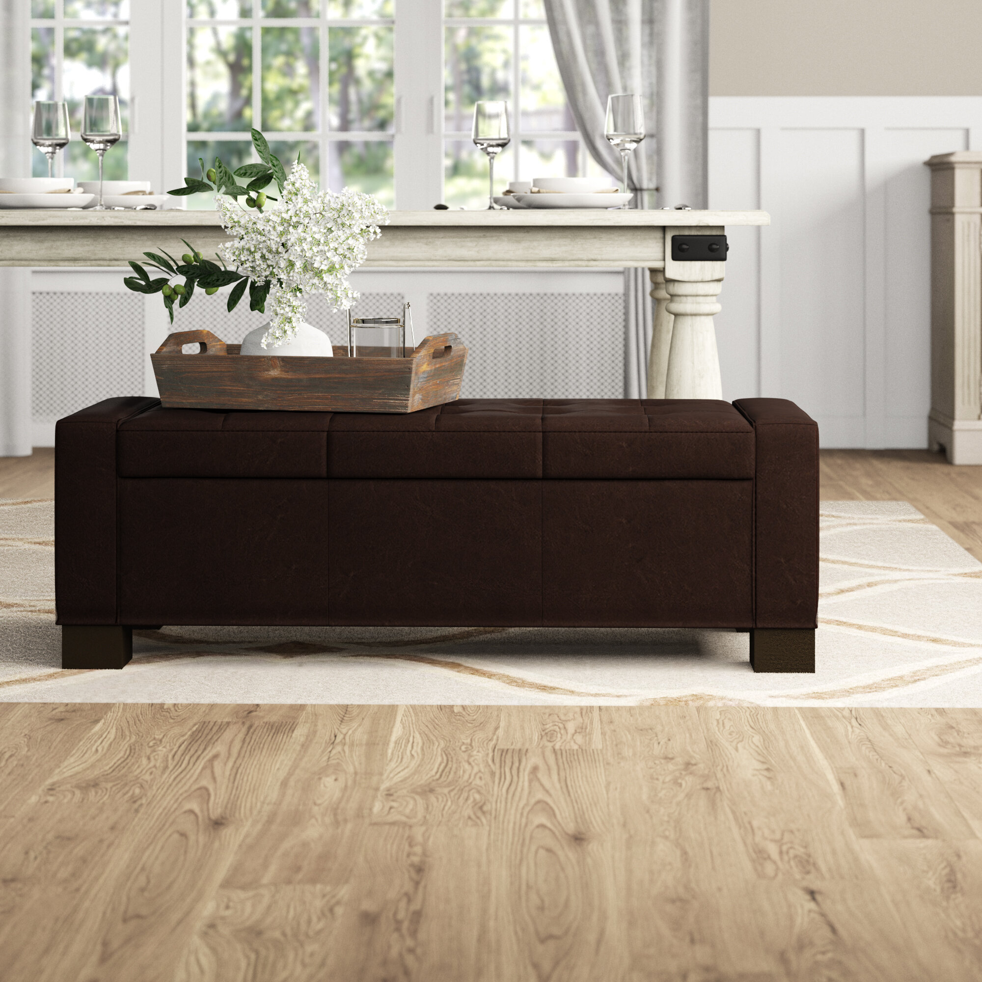 Hampstone Faux Leather Storage Bench Reviews Birch Lane