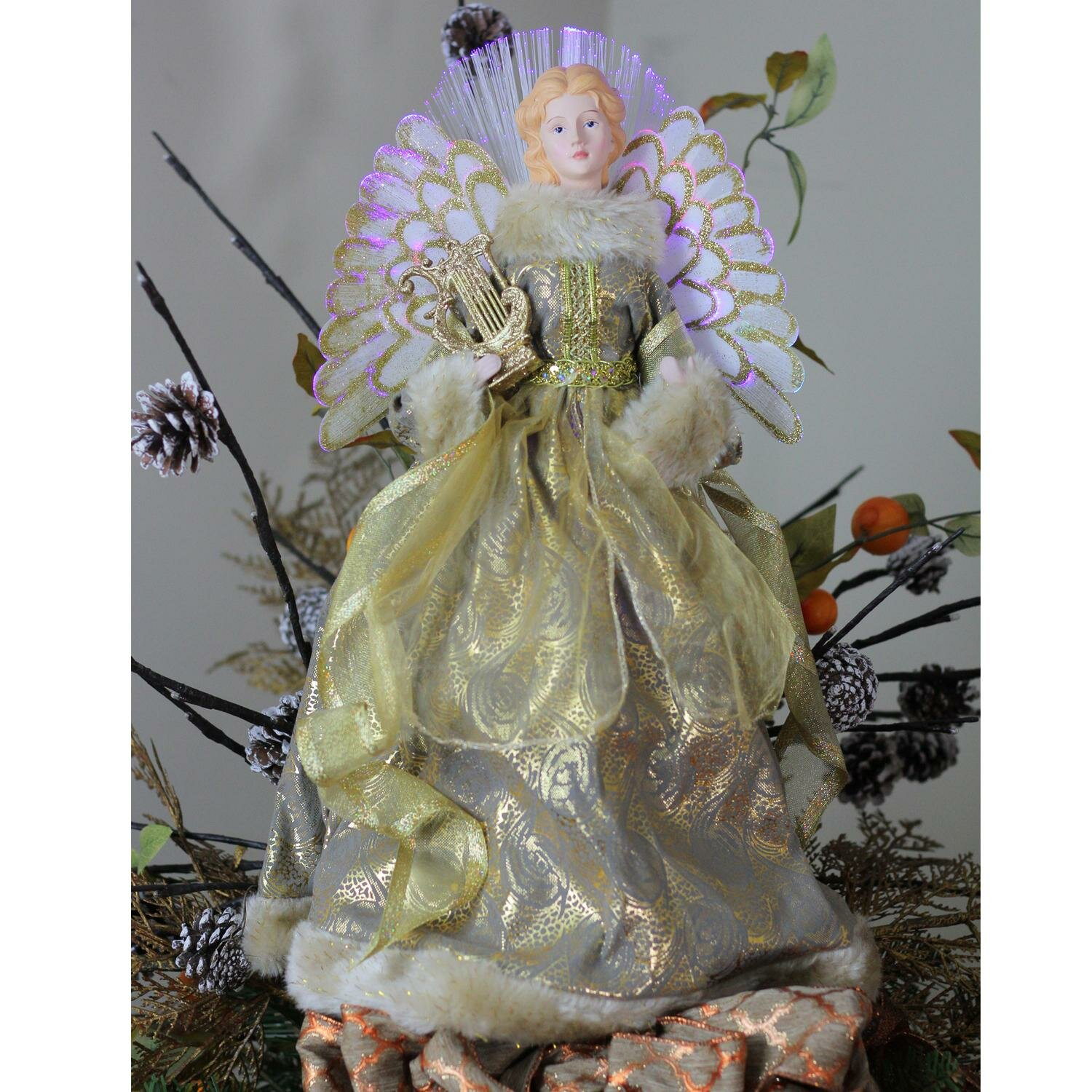 Christmas Tree Topper.Angel Christmas Tree Topper In Metallic Gown