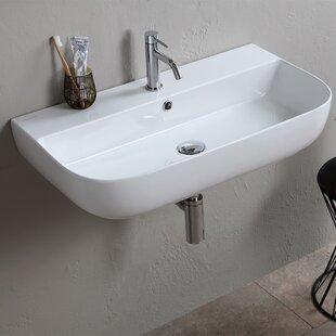 Scarabeo by Nameeks Ceramic Vessel Bathroom Sink with Overflow