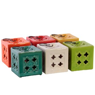 Urban Trends Ceramic Square Tea Light Lantern with Metal Hook (Set of 6)
