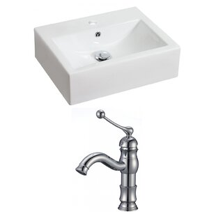 Deals Above Counter Ceramic Rectangular Vessel Bathroom Sink with Faucet and Overflow ByRoyal Purple Bath Kitchen