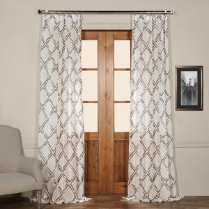 Chantelle Geometric Sheer Tab Top Single Curtain Panel