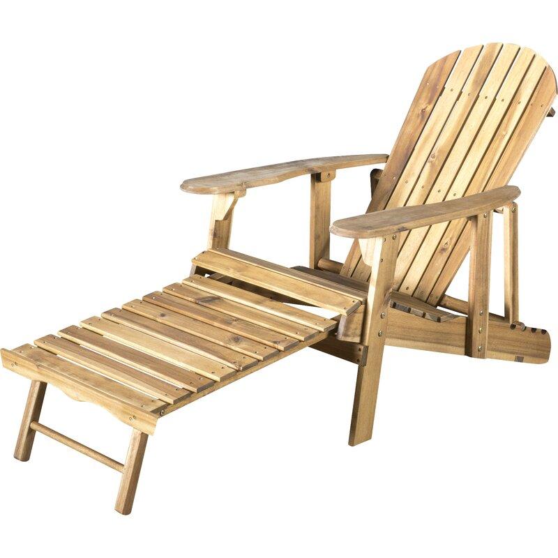 Kairi Solid Wood Adirondack Chair With Ottoman