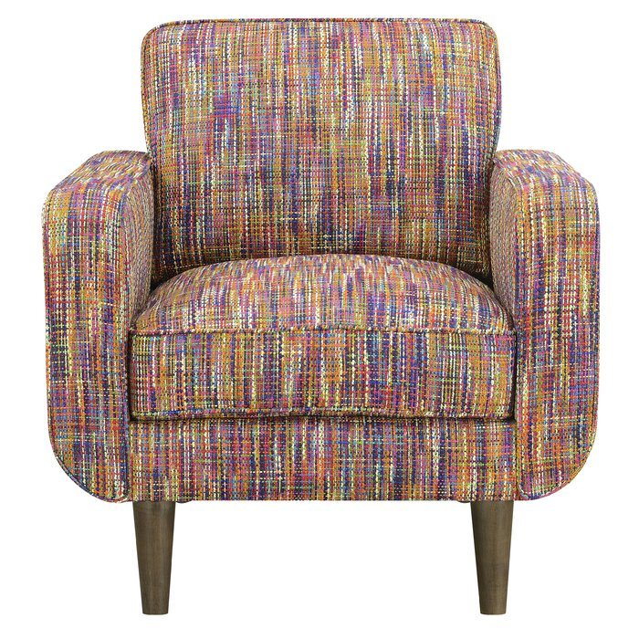 Emerald Home Capel Festive Multicolor Accent Chair With Wood Legs And Track Arms
