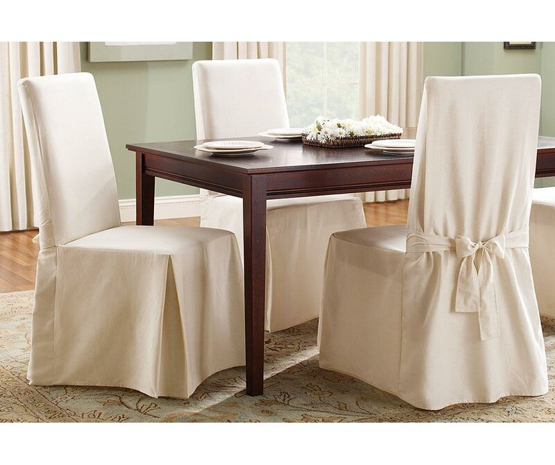 Sure Fit Cotton Duck Box Cushion Dining Chair Slipcover ...