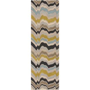 Foye Hand-Tufted Wool Blue/Brown/Yellow Area Rug by George Oliver