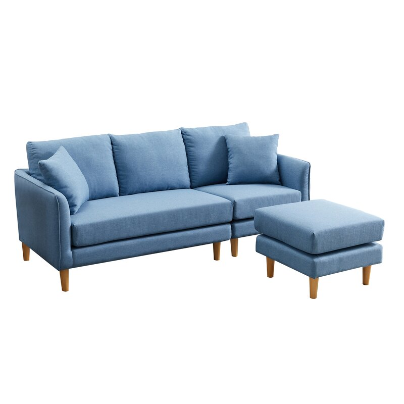 "Ebern Designs Alaister 74"" Reversible Sofa & Chaise With Ottoman | Wayfair"