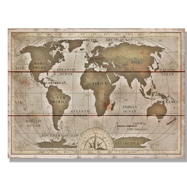 Daydream HQ 'Old World Map' Graphic Art On Wood