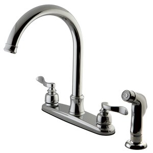 NuWave French Centerset Double Handle Kitchen Faucet with Side Spray