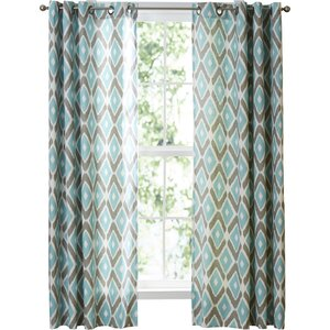 Annamaria Light Ikat Semi-Sheer Grommet Single Curtain Panel