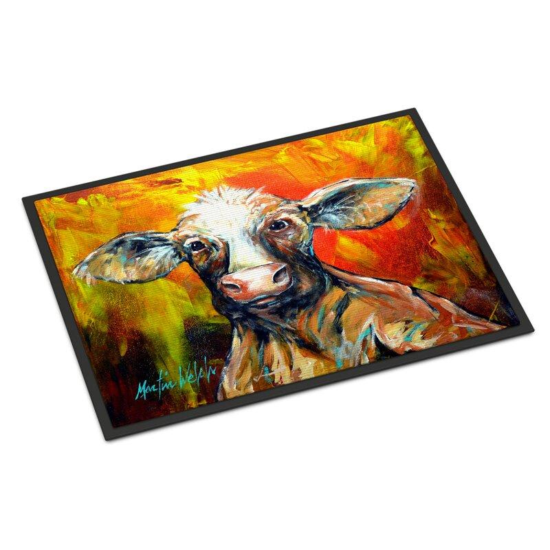 Red Barrel Studio Pax Happy Cow 27 In X 18 In Non Slip Outdoor Door Mat Wayfair