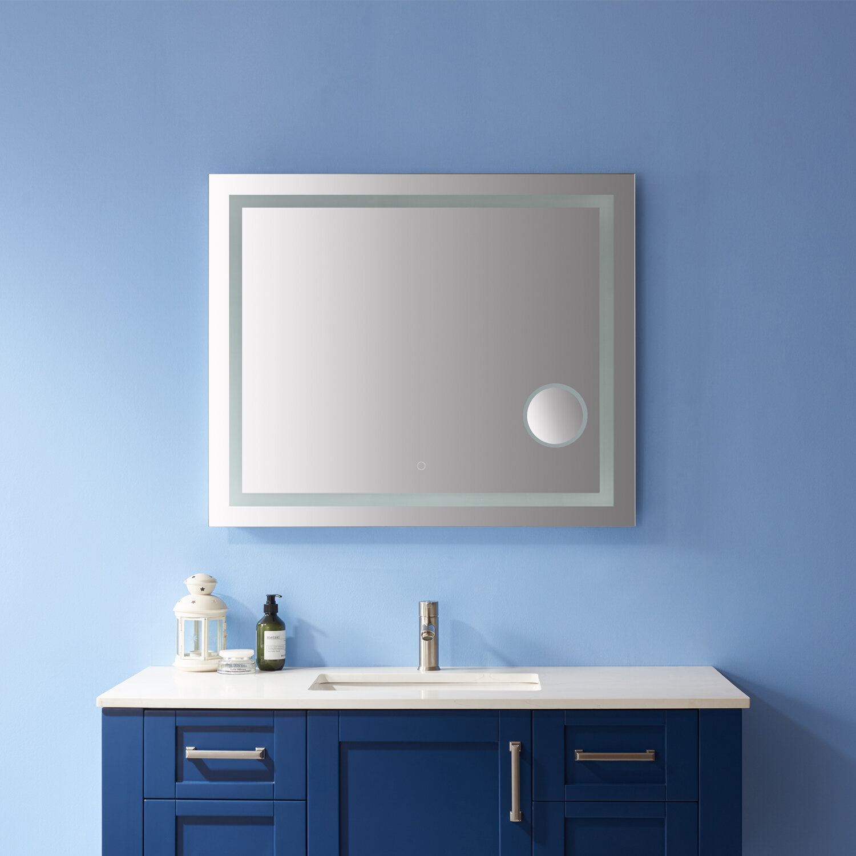 Orren Ellis Arendtsville Modern And Contemporary Frameless Lighted Magnifying Bathroom Mirror Wayfair