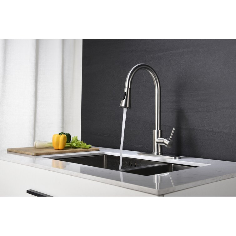 Farun High Arc Pull Out Single Handle Kitchen Faucet With Pull Down Sprayer Reviews Wayfair