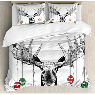 Moose Christmas with Xmas Ornaments Balls Hanging from Horns Funny Noel Sketch Art Duvet Cover Set