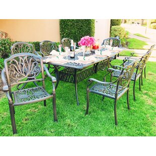 Fleur De Lis Living Nina Traditional Rectangular 9 Piece Dining Set with Cushions