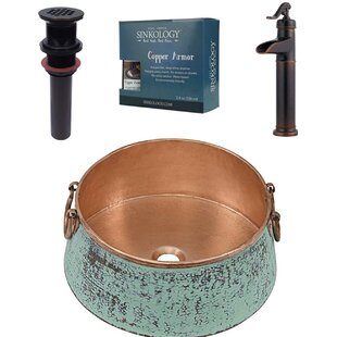Sinkology Nobel and Ashfield All-in-One Metal Circular Vessel Bathroom Sink with Faucet