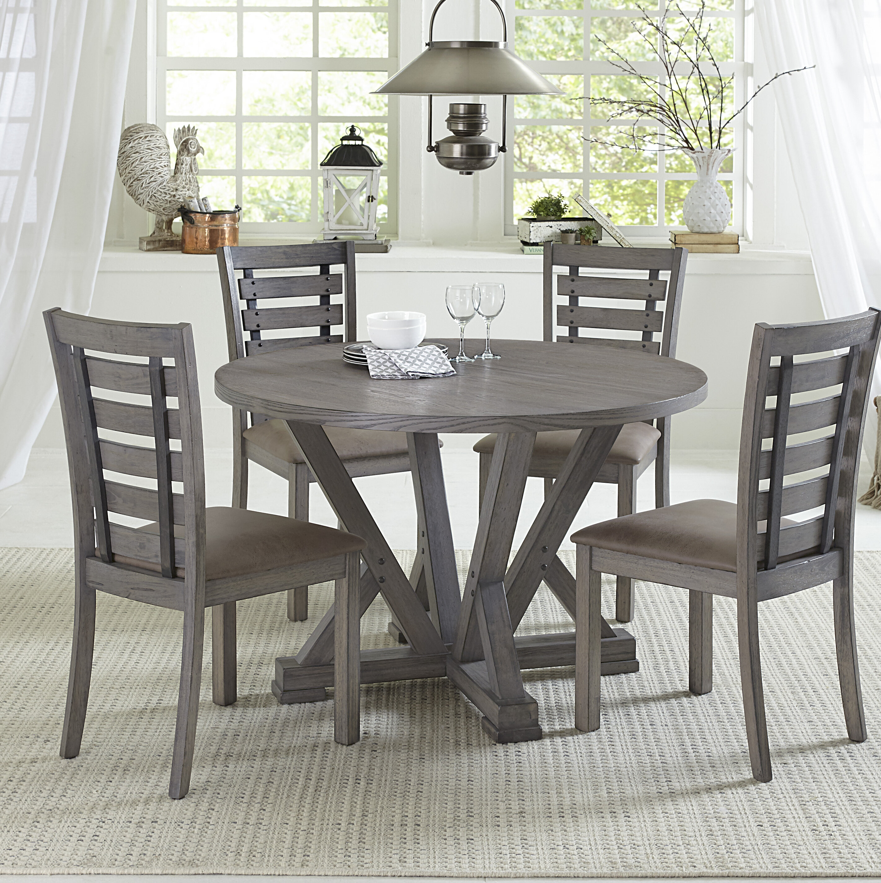 Gracie Oaks Mcwhirter 5 Piece Solid Wood Dining Set & Reviews