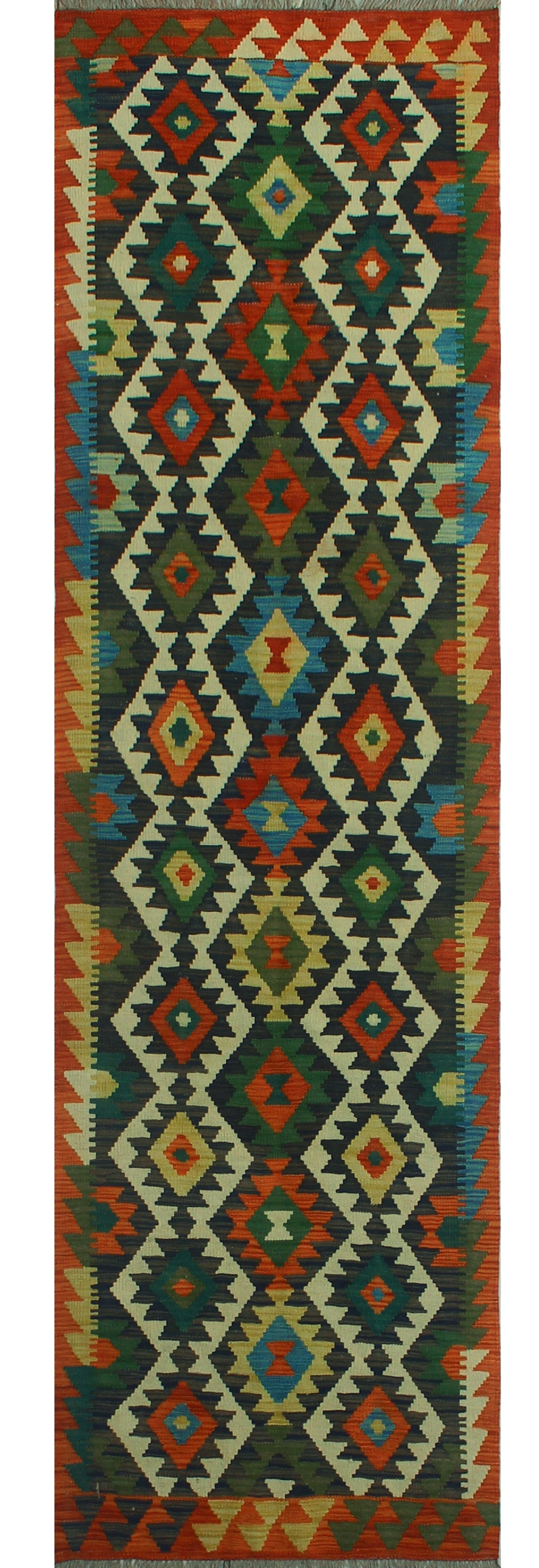 Foundry Select Runner Hults Southwestern Handmade Kilim Wool Red Green Area Rug Wayfair