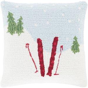 Skis Winter Throw Pillow