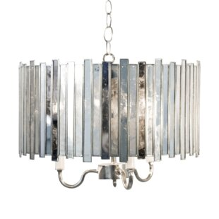 Worlds Away Antique Mirror Faceted 3-Light Chandelier
