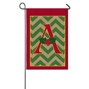 Garden Ornaments EVERGREEN F MONOGRAM GLOW IN THE DARK MINI FLAG with FREE SHIPPING Flags