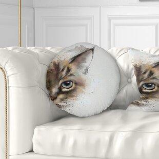 Animal Cat Half Face Watercolor Throw Pillow