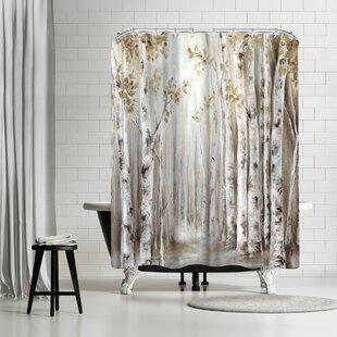 PI Creative Art Sunset Birch Forest Iii Shower Curtain