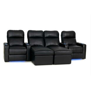 Upholstered Leather Home Theater Sofa (Row of 4)