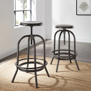 Costantino Adjustable Height Swivel Bar Stool (Set of 2) by Williston Forge